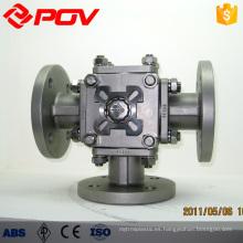 Válvula de bola de acero inoxidable bridada 3 vías dn32