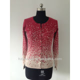 ladies long sleeve print cardigan sweater