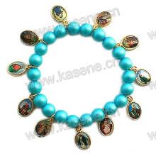 Cuentas de perlas de vidrio baratos con hoja de aleación de San, pulsera de oración religiosa