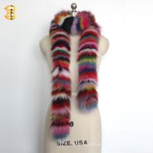 Long Style Rainbow Deyed bunten Real Fox Pelz Schal Schal für Frauen oder Lady