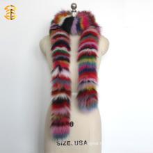 Long Style Rainbow Deyed Colorful Real Fox Fur Shawl Scarf for Women or Lady