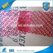 ZOLO high quality security bopp packing tape blue and red void transparent tape
