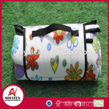 Extra large pattern printed polar fleece waterproof picnic blanket for family use