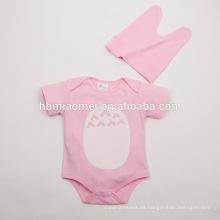 2016 nuevos mamelucos del mameluco del bebé del algodón de la manga corta del color liso del diseño al por mayor
