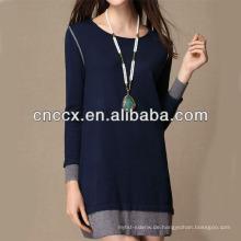13STC5663 neuesten Design Damen Crewneck häkeln Pullover Kleid Muster