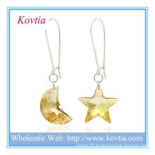 Großhandel alibaba österreichischen Kristall Mond und Stern Form Silber baumeln Ohrring
