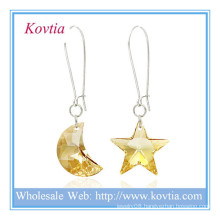 Wholesale alibaba austrian crystal moon and star shape silver dangle earring