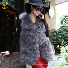 Подлинное перо Турция меховое платье Леди жилет длинный стиль пера меховой жилет