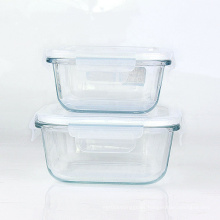 Glass Meal Prep Containers 3 compartment borosilicate glass food box storage container with lock lids