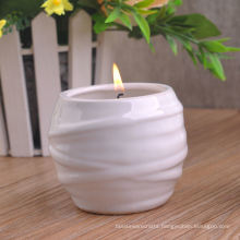 Shiny White Ceramic Candle Vessel