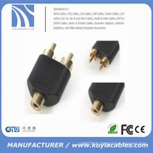 RCA-Buchse auf 2 Cinch-Stecker AV-Y-Splitter-Adapter-Anschluss für Audiokabel