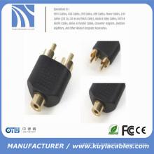 RCA fêmea para 2 RCA macho AV Y-Splitter adaptador conector para cabo de áudio