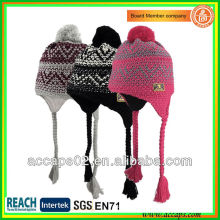 Mode Jacquardwebart Acryl Beanie Hut mit Pompom und Zopf BN-2035