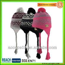 Chapéu de gola de acrílico de teca jacquard de moda com pompom e pigtail BN-2035