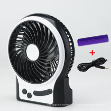 Mini ventilador de carga portátil USB con 3 niveles de velocidad del viento-Negro