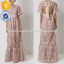 Новая мода Дасти розовый кружевной галстук шеи платье платье Производство Оптовая продажа женской одежды (TA5255D)