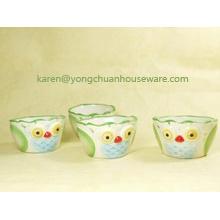 Pintado a mano de cerámica El conjunto de 4 tazas de medir-forma de pájaros