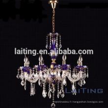 8 lumières magnifique lustre bleu pour les projets d'éclairage