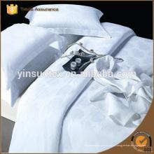 Algodón y Polycotton Hoja de cama blanca, Satin Stripe / jacquard / simple plana plana blanca / sábana equipada / conjunto de ropa de cama de hotel