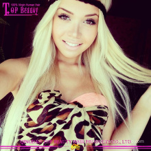 2015 New design high end long blonde wig 100% unprocessed human hair 613# full lace wig