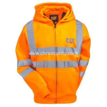 Hi Vis Orange Reflective Full-Zip Lined Sweatshirt