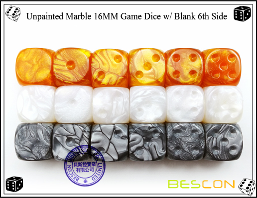 Un-painted Marble Dice 16MM with Blank 6th Side