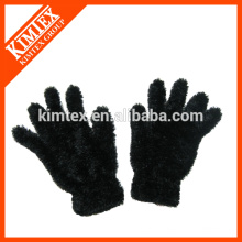 Ladies custom knit faux fur gloves