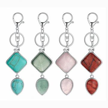 Rhombus Water Drop Gemstone Pendant Keychains Natural Quartz Teardrop Key Chain