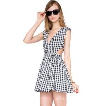 Guangzhou Fábrica de Ropa OEM Slim Fit Plaid Moda Mujer Vestido
