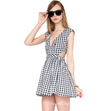 Guangzhou Factory Clothing OEM Slim Fit Plaid Fashion Women Dress