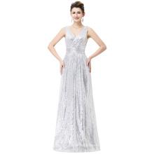 Kate Kasin Sexy Sleeveless V-Neck Silver Shining Sequined Long Prom Party Dress KK000199-3