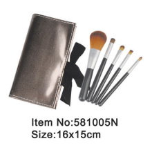 5pcs plastic handle makeup brush kit with PU case