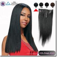 Qingdao Haiyi 100% indio Remy Hair Clip en extensiones de cabello para afroamericanos