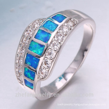 Elegant section design zircon gemstone 925 sterling silver ring for women