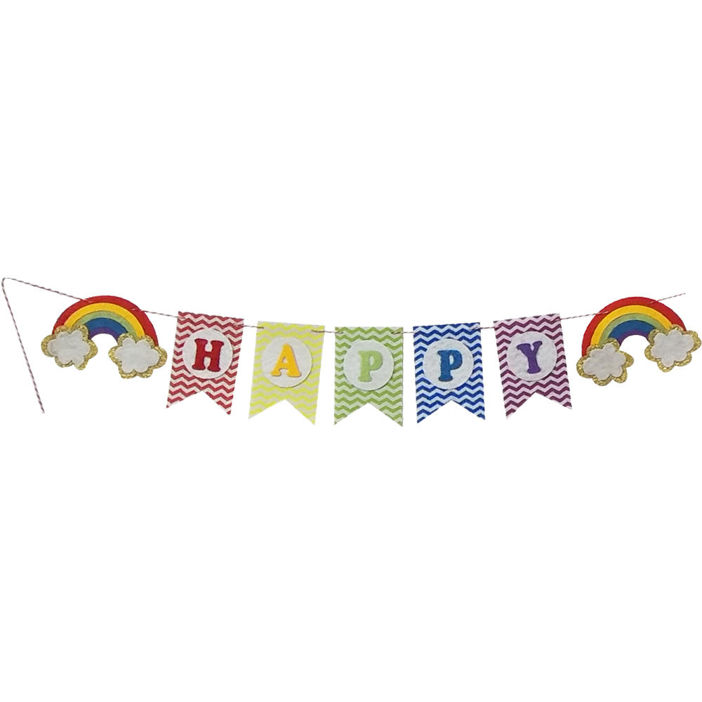Felt rainbow happy birthday flag bunting