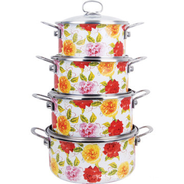 4PCS Full Design Enamel Casserole with Glass Cover