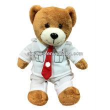 2013 новое прибытие коричневый плюшевый медведь/ выпускные медведь с футболка и красный галстук