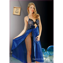Sexy Long Transparent Nightdress avec Guipure