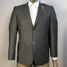 directly grey single-breasted office men wedding suits