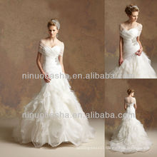 J-030 Organza Off-shoulder Wedding Dress 2012 Handmade Flower Skirt Bridal Dress Prom Gown