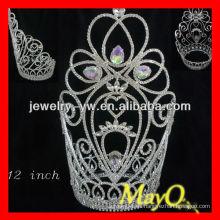 Corona de la tiara del desfile grande del Rhinestone de 12 '', cristal grande de Ab
