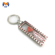 Metal heart rhinestone keychain in bulk
