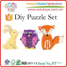 Lovely Wooden Jigsaw Animals Puzzle Blocks, Cartoon Kids DIY Toy 3D Puzzle Blocks