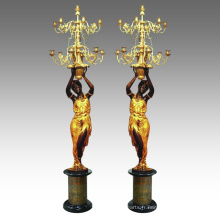 Bougeoir Statue Femmes Chandelier Bronze Sculpture Tpch-045 & 046