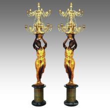 Candleholder Statue Women Candlestick Bronze Sculpture Tpch-045&046
