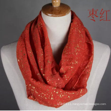 Woman Fashion Gold Stamping Cotton Voile Infinity Scarf (YKY1089-10)