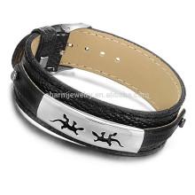 2015 nova personalidade criativa oca titânio aço gecko pulseira de couro preto PH752