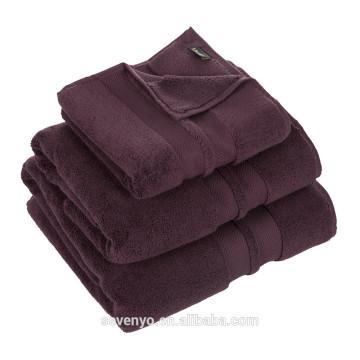 100% algodão luxo roxo escuro cor hotel toalha HO-021