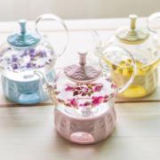 See-through Pyrex Glass Heatable Tea pot Set