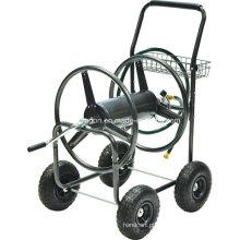 Carrinho de carretel com mangueira de água para jardim de 4 rodas